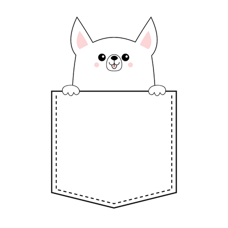 Corgi dog happy face head icon in the pocket. Holding hands paw. Cute cartoon pooch character. Contour silhouette. Kawaii animal. Funny baby puppy. Love card. Flat design. White background Vector