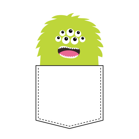 Green fluffy monster silhouette in the pocket. Open mouth. Cute cartoon scary funny spooky character. Happy Halloween. Baby collection. T-shirt design. White background. Flat Vector illustration