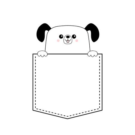 Icona della testa del viso felice del cane nella tasca. Tenersi per mano la zampa. Personaggio simpatico cartone animato cane. Sagoma di contorno. Animale kawaii. Cucciolo divertente del bambino. Carta d'amore. Design piatto. Isolato. Sfondo bianco Vector