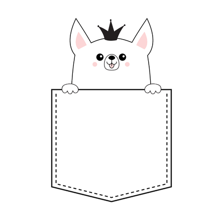 Corgi princess crown dog happy face head icon in the pocket. Holding hands paw. Cute cartoon pooch character Contour silhouette Kawaii animal Funny baby puppy Love Flat design. White background Vector