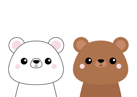 Grizzly and white bear head face set. Pink cheeks. Doodle linear sketch. Cute cartoon character. T-shirt design. Dash line. Pet animal. Baby background. Flat Vector illustration