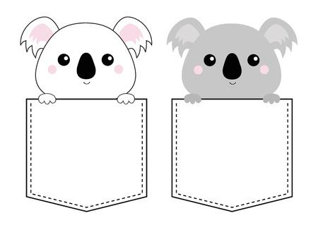 Cara de cabeza de oso de koala en el bolsillo. Sosteniendo las manos de la pata. Dibujo lineal de Doodle. Personaje de dibujos animados lindo. Diseño de camiseta. Línea de puntos. Mascota. Color gris blanco. Fondo de bebé. Vector de diseño plano