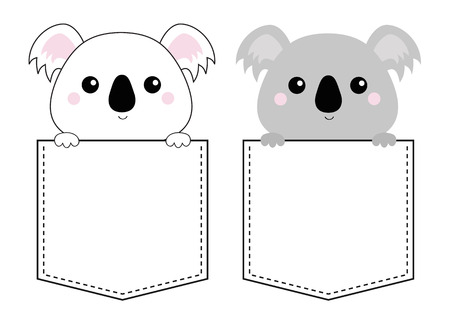 Koala bear head face in the pocket. Holding paw hands. Doodle linear sketch. Cute cartoon character. T-shirt design. Dash line. Pet animal. White gray color. Baby background. Flat design Vector Illustration
