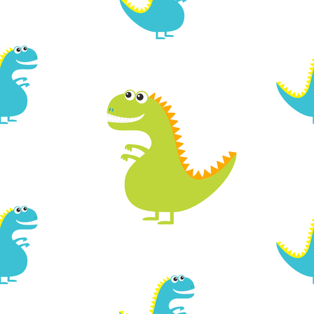 Dinosaur isolated on white background. Cute cartoon funny dino baby character. Flat design. Seamless Pattern. Wrapping paper, textile template. Blue background. Flat design. Vector illustration