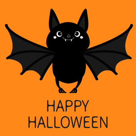 Happy Halloween. Bat flying. Cute cartoon baby character with big open wing, ears, legs. Black silhouette. Forest animal. Flat design. Orange background. Isolated. Greeting card. Vector illustration Standard-Bild - 114692933
