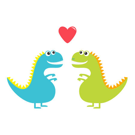 Dinosaur love couple set isolated on white background. Red heart. Happy Valentines Day. Love card. Cute cartoon funny dino baby character. Flat design. Blue and green color. Vector illustration