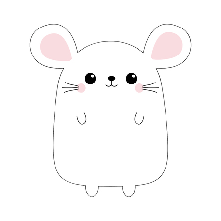 Mouse face head body. Black contour silhouette. Doodle linear sketch. Pink cheeks. Kawaii animal. Cute cartoon funny baby character. Love card. Flat design. White background. Vector illustration  イラスト・ベクター素材
