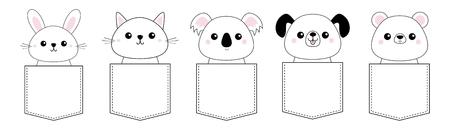 Dog, cat kitten, bear, rabbit, hare, grizzly, koala head face pocket set. Doodle linear sketch. Pink cheeks. Cute cartoon character. T-shirt design. Pet animal collection Baby background. Flat Vector