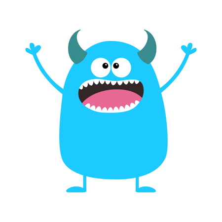 Cute blue monster icon. Happy Halloween. Cartoon colorful scary funny character. Eyes, tongue horns, holding hands up. Funny baby collection. White background Isolated Flat design. Vector illustration 일러스트