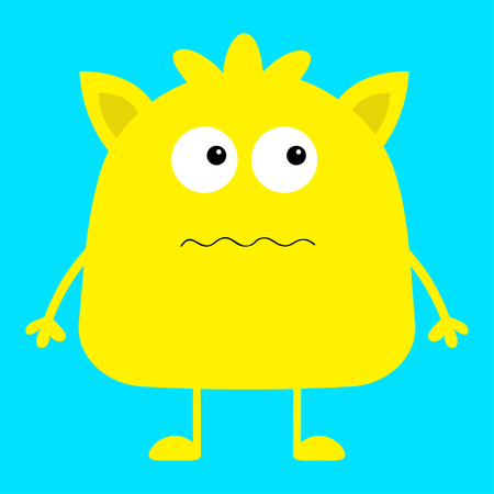 Cute yellow monster icon. Happy Halloween. Cartoon colorful scary funny character. Eyes, ears, mouth, hair. Funny baby collection. Blue background Isolated. Flat design. Vector illustration Ilustração