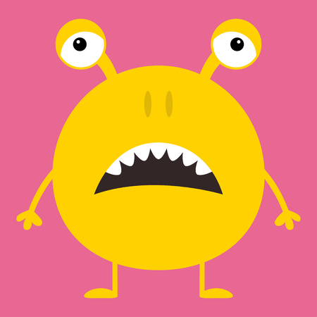Cute yellow monster icon. Happy Halloween. Cartoon colorful scary funny character. Eyes, ears, nose, open mouth. Funny baby collection. Pink background Isolated. Flat design. Vector illustration