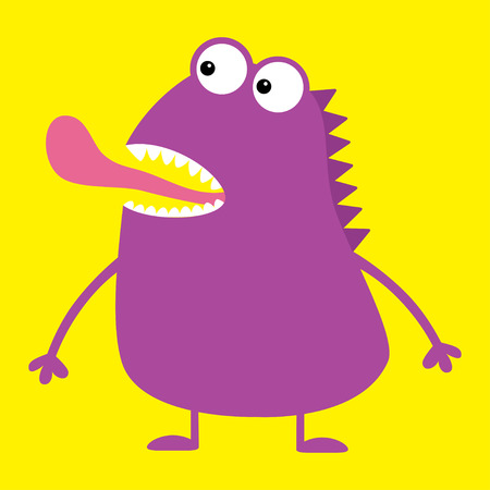 Cute violet monster icon. Happy Halloween. Cartoon colorful scary funny character. Eyes, mouth showing tongue. Funny baby collection. Yellow background Isolated. Flat design. Vector illustration