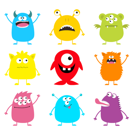 Cute monster icon set. Happy Halloween. Cartoon colorful scary funny character. Eyes, tongue, hands up. Funny baby collection. White background Isolated. Flat design. Vector illustration