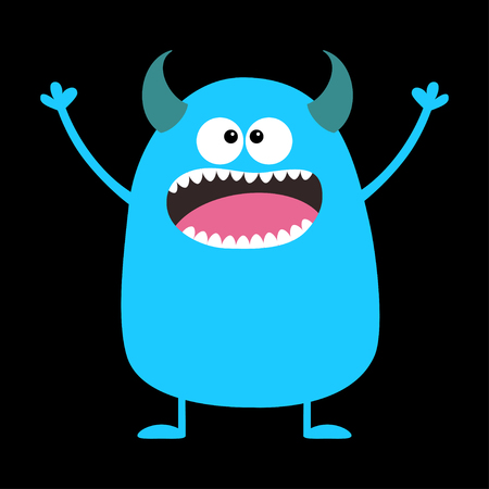Cute blue monster icon. Happy Halloween. Cartoon colorful scary funny character. Eyes, tongue horns, holding hands up. Funny baby collection. Black background Isolated Flat design. Vector illustration