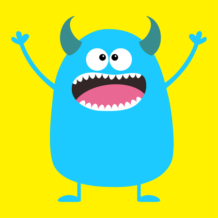 Cute blue monster icon. Happy Halloween. Cartoon colorful scary funny character. Eyes, tongue horns, holding hands up. Funny baby collection Yellow background Isolated Flat design. Vector illustration