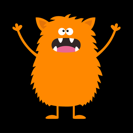 Cute orange monster icon. Happy Halloween. Cartoon colorful scary funny character. Eyes, tongue, fang, ears, holding hands up. Funny baby collection. Black background Isolated. Flat design. Vector