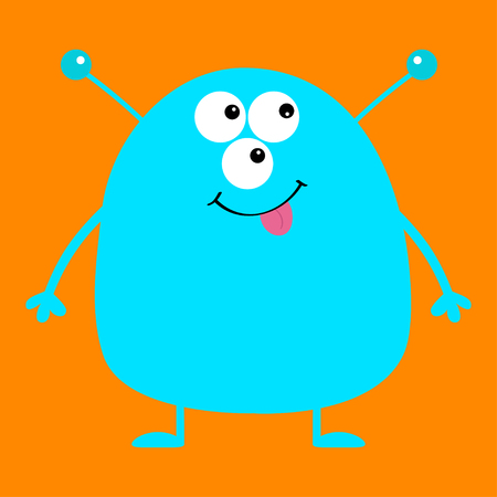 Cute blue monster icon. Happy Halloween. Cartoon colorful scary funny character. Eyes, ears antenna, mouth, tongue. Funny baby collection. Orange background Isolated. Flat design. Vector illustration