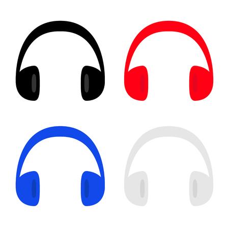 Headphones earphones icon set. Black red blue gray silhouette. Music card. Flat design style. White background. Isolated. Vector illustration Ilustracja
