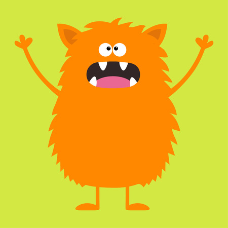 Cute orange monster icon. Happy Halloween. Cartoon colorful scary funny character. Eyes, tongue, fang, ears, holding hands up. Funny baby collection. Green background Isolated. Flat design. Vector