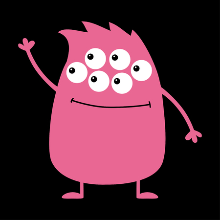 Cute pink monster icon. Happy Halloween. Cartoon colorful scary funny character. Eyes, hair, holding hands up, waving hand. Funny baby collection. Black background Isolated. Flat design. Vector