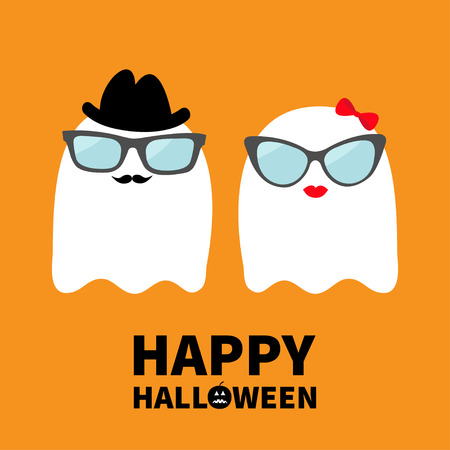 Happy Halloween. Ghost spirit family couple with lips, mustaches and eyeglasses, hat, bow. Scary white ghosts. Cute cartoon character. Spooky face Greeting card Orange background. Flat design. Vector
