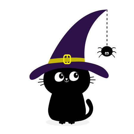 Black cat silhouette looking to hanging on dash line web spider insect. Witch hat cap. Happy Halloween. Baby pet animal collection Cute cartoon character Flat design White background Vector