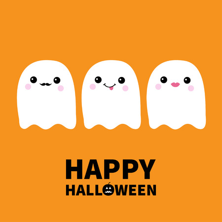 Happy Halloween. Three flying ghost spirit set showing tongue, moustaches, lips. Boo. Scary white ghosts. Cute cartoon spooky character. Smiling face, cheeks. Orange background Flat design. Vector Ilustração