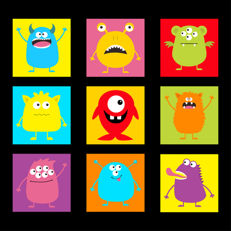 Cute monster icon set. Happy Halloween. Cartoon scary funny character. Eyes, tongue, horns, hands up. Funny baby collection. Colorful black background Isolated. Flat design. Vector illustration