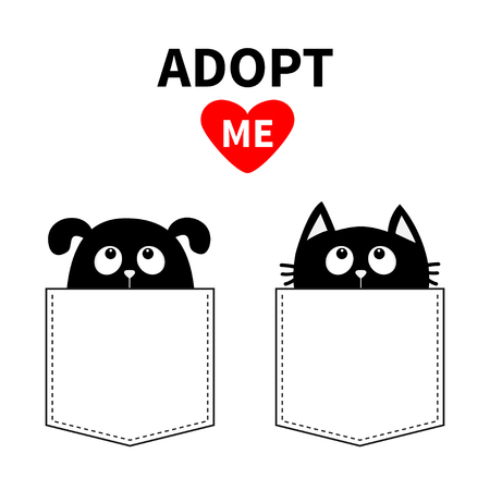 Adopt me. Dont buy. Dog Cat in pocket. Pet adoption. Puppy pooch kitty cat looking up to red heart. Flat design. Help homeless animal concept. White background. Isolated. Vector illustration