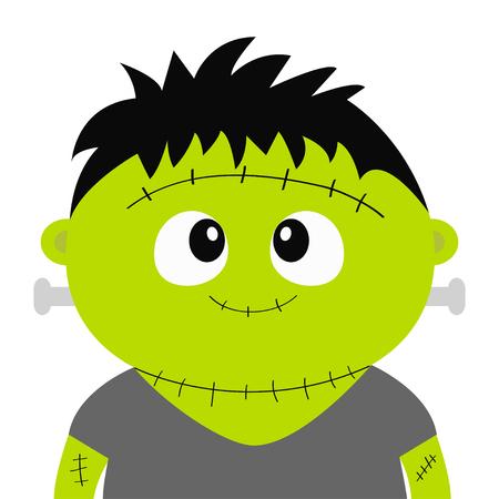 Monstre de Frankenstein. Joyeux Halloween. Personnage de bébé fantasmagorique drôle de dessin animé mignon. Visage de tête verte. Carte de voeux. Design plat. Fond blanc. Isolé. Illustration vectorielle Vecteurs