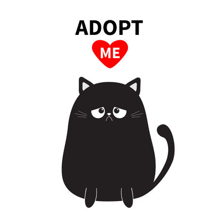 Adopt me. Dont buy. Black sitting sad cat silhouette. Red heart. Pet adoption. Kawaii animal. Cute cartoon kitty character. Funny baby kitten. Help homeless animal Flat design. White background Vector