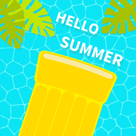 Swimming pool. Floating yellow air pool float water mattress. Top aerial view. Hello Summer. Palm tree leaf. Cute cartoon relaxing object. Sea Ocean water. Blue background. Flat design. Vector Vettoriali