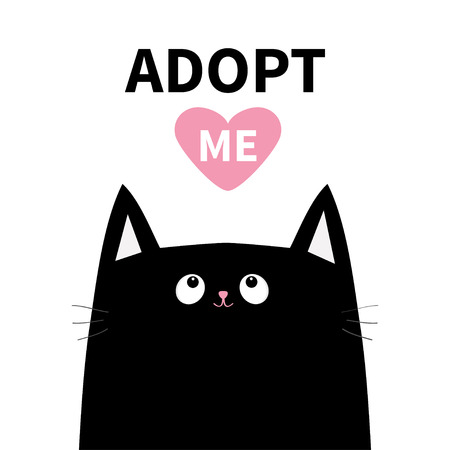 Adopt me. Dont buy. Black cat face head silhouette. Pink heart. Pet adoption. Kawaii animal. Cute cartoon kitty character. Funny baby kitten. Help homeless animal Flat design. White background. Vector