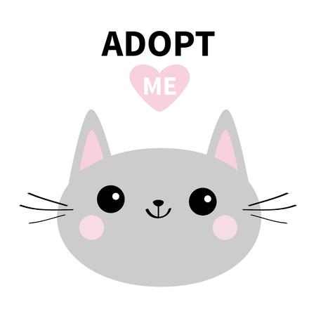 Adottami. Non comprare. Sagoma testa tonda gatto grigio. Cuore rosa. Adozione di animali domestici. Animale kawaii. Simpatico personaggio dei cartoni animati del gattino. Gattino divertente. Aiuta l'animale senzatetto Design piatto. Sfondo bianco Vector Vettoriali