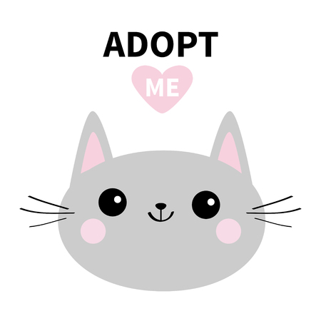 Adopt me. Dont buy. Gray cat round head silhouette. Pink heart. Pet adoption. Kawaii animal. Cute cartoon kitty character. Funny baby kitten. Help homeless animal Flat design. White background Vector Illustration