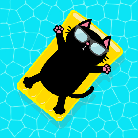Swimming pool. Black cat floating on yellow pool float water mattress. Top air view. Hello Summer. Sunglasses. Lifebuoy. Cute cartoon relaxing character. Flat design. Vector illustration Ilustração