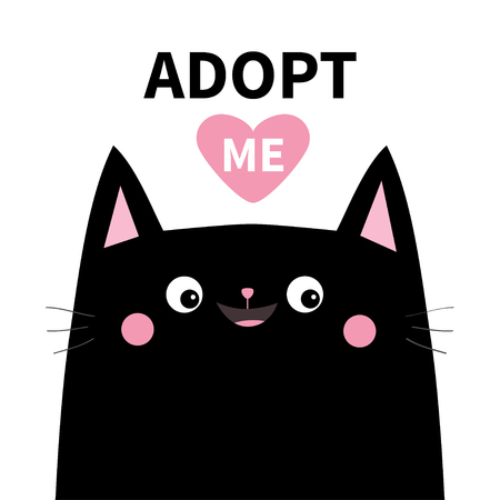Adopt me. Dont buy. Black cat face silhouette. Pink heart. Pet adoption. Kawaii animal. Cute cartoon kitty character. Funny baby kitten. Help homeless animal Flat design. White background Vector Illustration
