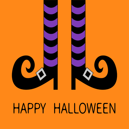 Witch legs with violet striped socks and shoes buckle. Happy Halloween. Cute cartoon character body part. Greeting card. Flat design. Orange baby background. Vector illustration Illustration