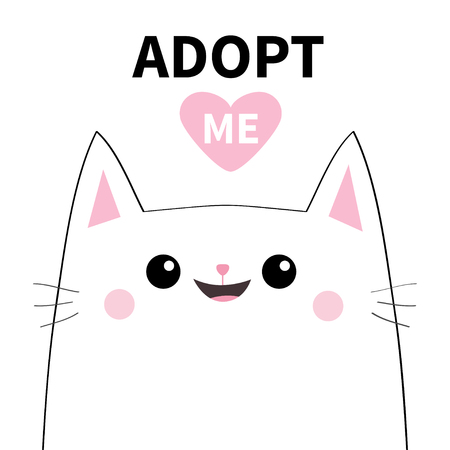 Adopt me. Dont buy. White cat smiling face silhouette. Pink heart. Pet adoption. Cute cartoon kitty character. Funny baby kitten. Help homeless animal Flat design. White background Vector illustration