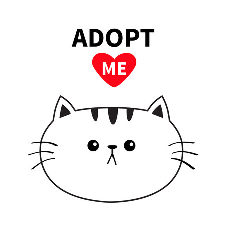 Adopt me. Dont buy. Contour cat round head silhouette. Red heart. Pet adoption. Kawaii animal. Cute cartoon kitty character. Funny baby kitten. Help homeless animal Flat design White background Vector