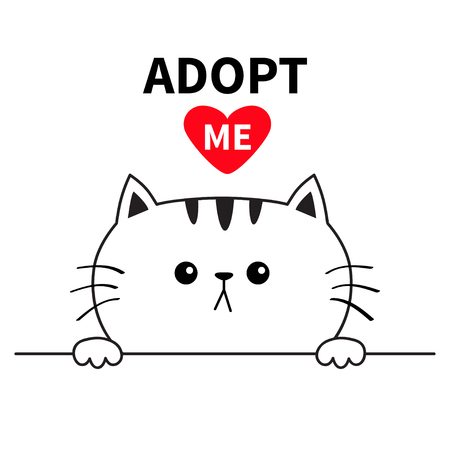 Adopt me. Dont buy. Cat face head. Hands paw holding line. Pet adoption. Help homeless animal Cute cartoon kitty character. Funny baby kitten. Flat design. White background Vector illustration Çizim