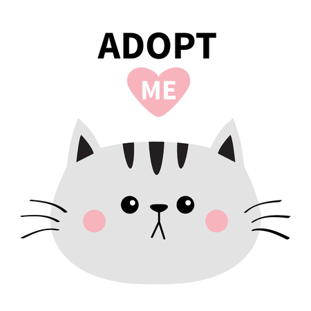 Gray cat round face silhouette. Adopt me. Pink heart. Pet adoption. Kawaii animal. Funny baby kitten. Cute cartoon kitty character.Help homeless animal Flat design. White background Vector Ilustracja
