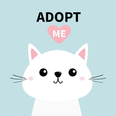 Cute cat face line silhouette. Adopt me. Pink heart. Pet adoption. Kawaii animal. Cute cartoon kitty character. Funny baby kitten. Help homeless animal Flat design. Blue background Vector illustration Çizim