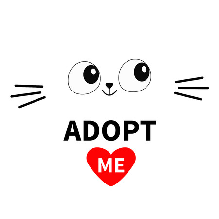 Cat face silhouette. Adopt me. Eyes moustaches. Pet adoption. Heart. Kawaii animal. Cute cartoon kitty character Funny baby kitten Help homeless animal Flat design Black background Vector illustration