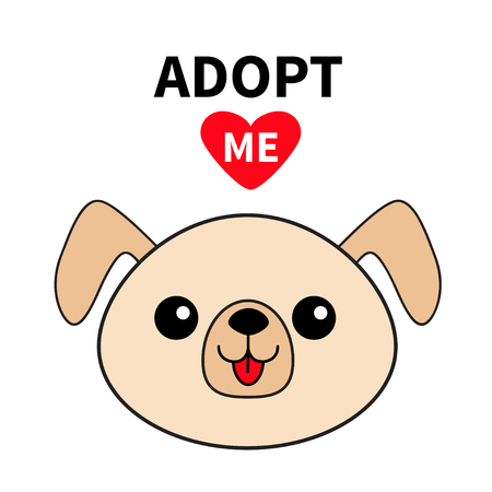 Pet adoption. Dog round face silhouette. Adopt me. Red heart. Kawaii animal. Cute cartoon puppy character. Funny baby pooch. Help homeless animal Flat design. White background Vector Çizim