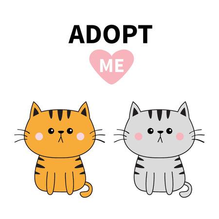 Gray orange cat silhouette. Adopt me. Pink heart. Pet adoption. Kawaii animal. Cute cartoon kitty character. Funny baby kitten. Help homeless animal Flat design. White background Vector illustration