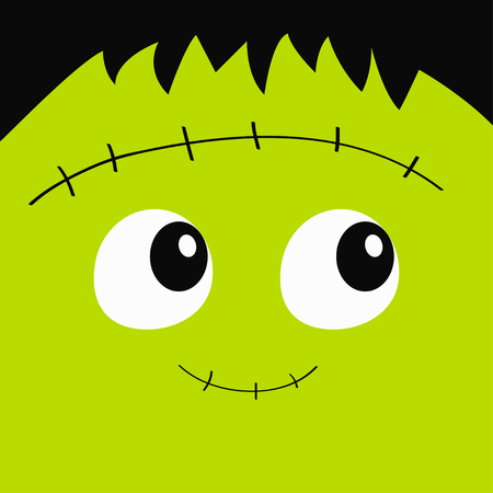 Zombie Frankenstein monster square face icon. Cute cartoon funny spooky baby character. Happy Halloween. Green head. Greeting card. Flat design. White background. Vector illustration