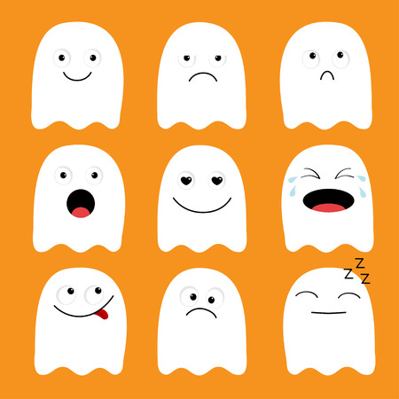 Cute ghost. Emoji icon set. Happy Halloween. Emoticons. Funny kawaii cartoon characters. Emotion collection. Happy, surprised, smiling crying sad angry face head. Flat design Orange background. Vector