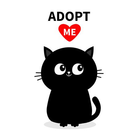 Black cat silhouette. Adopt me. Red heart. Pet adoption. Kawaii animal. Cute cartoon kitty character. Funny baby kitten. Help homeless animal Flat design. White background Vector illustration