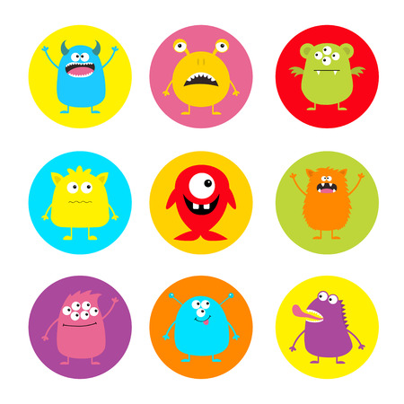 Happy Halloween. Cute monster round icon set. Cartoon scary funny character. Eyes, tongue, horns, hands up. Funny baby collection. Colorful white background Isolated. Flat design. Vector illustration
